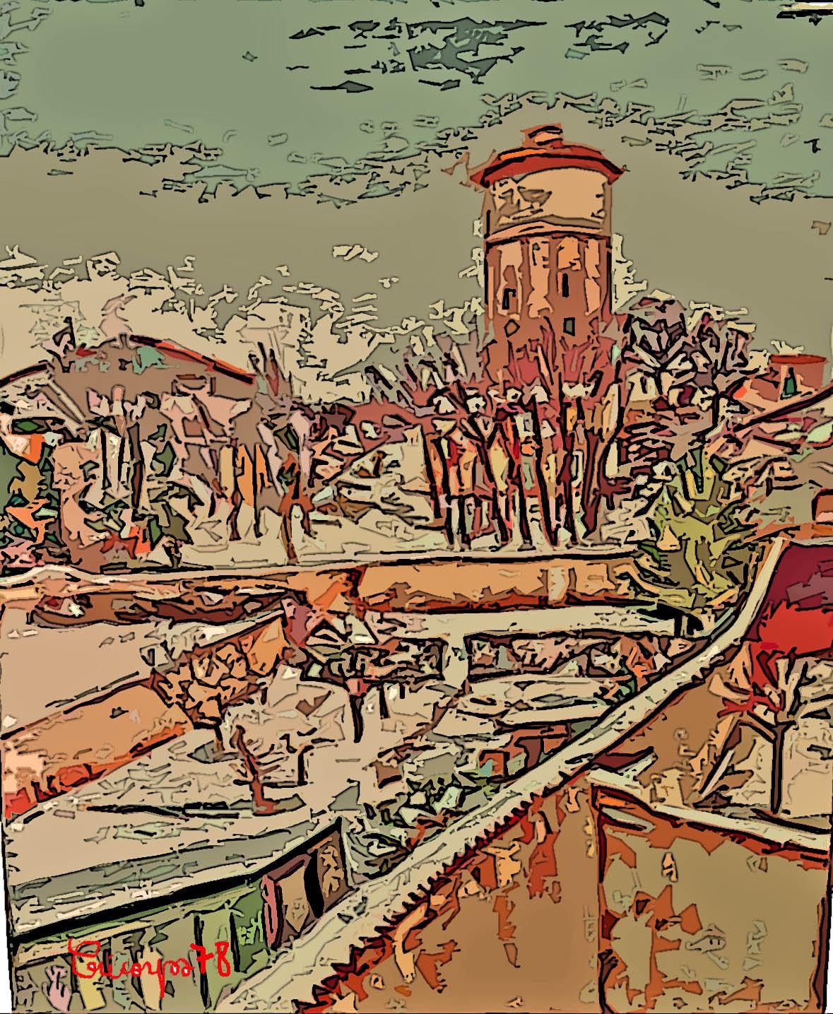 Peinture d cines charpieu sous la neige vu de ma fen tre 1978 for Vu de ma fenetre