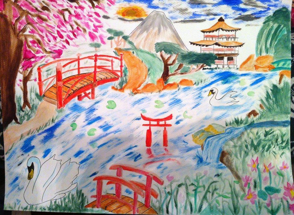 Peinture jardin japonais for Jardin japonais dessin