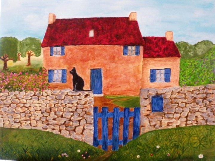 Peinture maison de campagne - Dessin maison de campagne ...