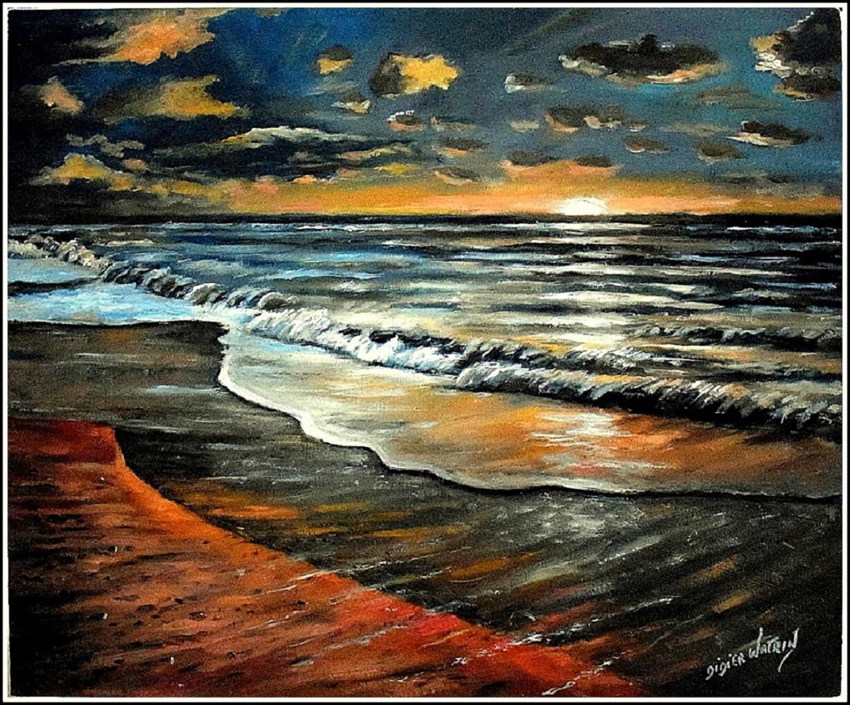 Coucher de soleil sur la mer - d'après une photo sur Pixabay -