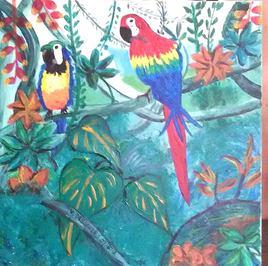 perroquets dans la jungle tropicale