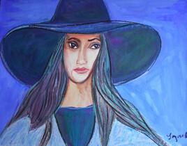 La belle au chapeau bleu .