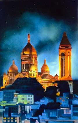 Peinture Nuit sur le Sacré-Coeur