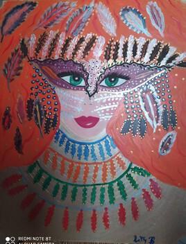 masque de Carnaval peint sur contre plaqué