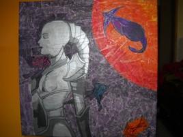 """Tableau en technique mixte """"Femme de l'espace"""""""