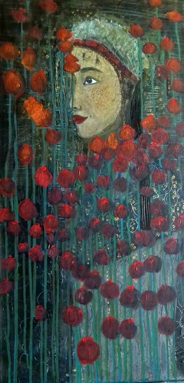 Little princess in the field of poppies