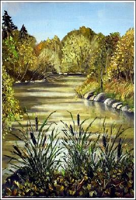 Plan d'eau aux Ulis (ma première toile peinte sur le motif après le confinement)