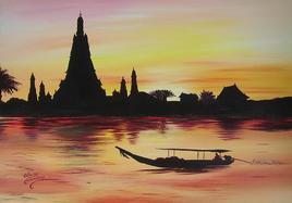 Coucher de soleil sur temple Thailandais