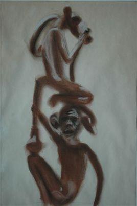Statuette aux 2 singes