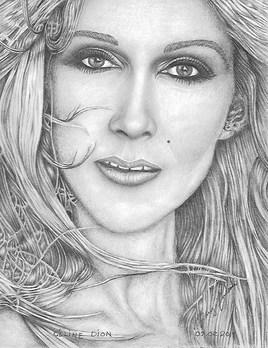 Céline Dion en noir et blanc