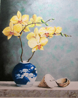 Orchidée au pot bleu