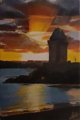 Coucher de soleil sur la Tour Solidor - St Servan sur Mer- BRETAGNE