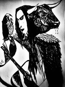 """""""Double figure du Minotaure armé de la double hache. """" de Vanessa Martinez Volterra"""