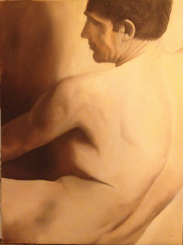 Homme nu de trois-quart