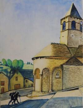 Eglise romane de Nasbinal sur le chemin de St Jacques