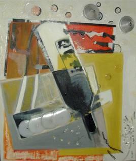 Si le vin...55x46-acrylique.huile.collage papier et alluminium-vernis colle-2009