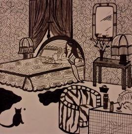 La fille et le chat noir