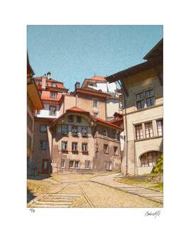 Fribourg, escalier du Court Chemin