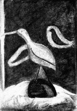 Oiseaux / Drawing A fading bird and two passerines