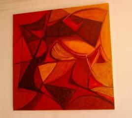 Composition , rouge ,jaune et brun