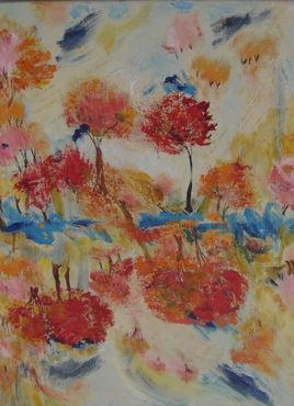 Artiste LangdonArt Arbres rouges esquisse d'automne