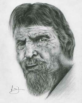 dessin de portrait d'homme barbu, par PORTRAIT éMOI