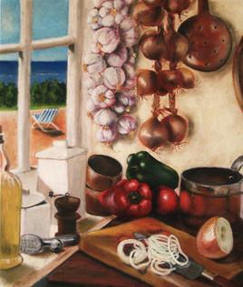 Dans la cuisine flotte un parfum d'ail et de thym