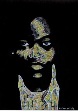Dessin Portrait Noir & Blanc (avec crayons de couleurs )
