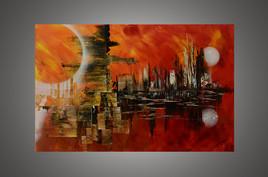 Peinture abstraite à la peinture acrylique : Génesis Town