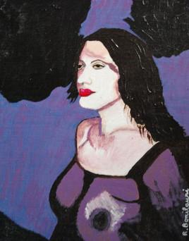 Les violets (portrait de femme)
