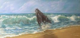 vague plage cheval