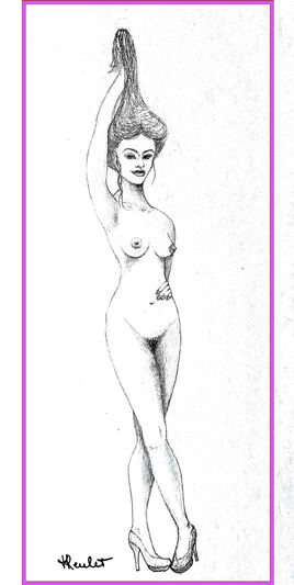 Femme nue debout 1/2 Lola / Drawing A naked standing woman Lola