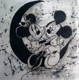 Mickey et minnie sur la lune