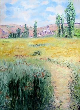 Chemin sur l'île Saint Martin (d'après Claude Monet)