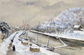 Neige sur le port de Quimper au XIX ème siècle