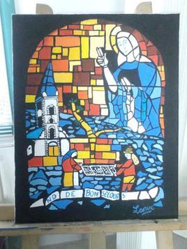 Vitrail d'Eglise 40 x 50 cm