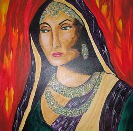 Femme voilée aux yeux verts