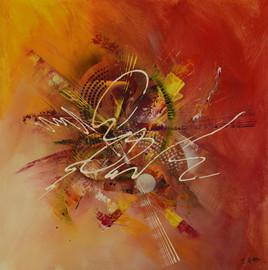 Tableau abstrait à la peinture acrylique style art déco : Fractum Est