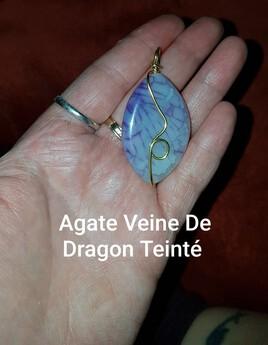 Agate Veine De Dragon Teinté Percé