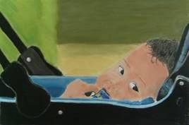 Un bébé en poucette