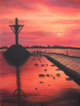 coucher de soleil sur le Gois