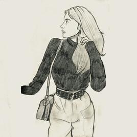 La fille au pull noir