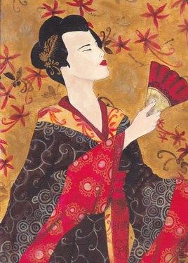 geisha eventail rouge