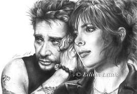 Dessin au crayon : Johnny Hallyday et Mylène Farmer