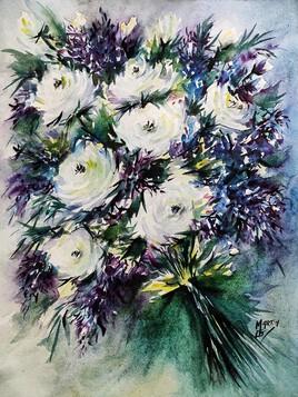 Aquarelle du jour roses blanches