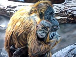 Maman et Bébé Orang Outan