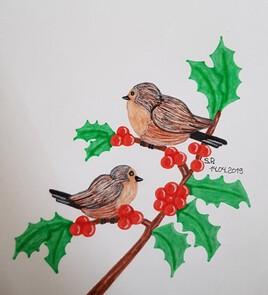 Houx et oiseaux