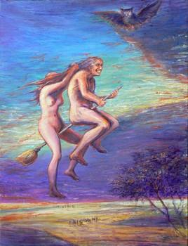 À cheval sur un Balai. (Hommage à Goya.)