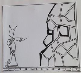Le robot et le visage de pierre