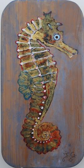 hippocampe peinture sur bois 28 x 14
